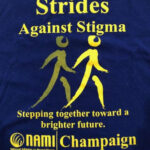 Strides Against Stigma t-shirt with two people walking, stepping together toward a brighter future, NAMI Champaign